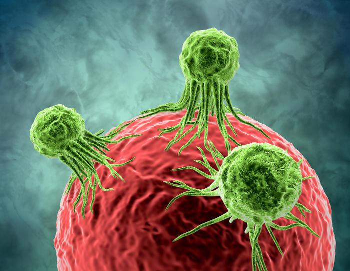 Representación gráfica de células cancerosas que atacan el tejido sano.