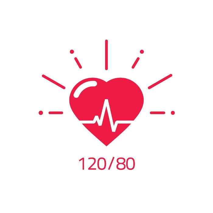 Imagen que muestra un corazón y valores óptimos de presión arterial (120/80)